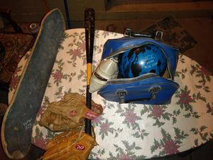 Used skateboard baseball bat to gloves bowling ball with the case and shoes for Sale in Phoenix, AZ