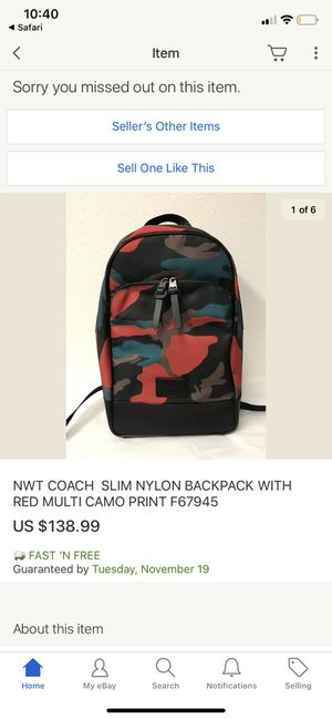 Coach camo men's slim backpack for Sale in Winchester, CA