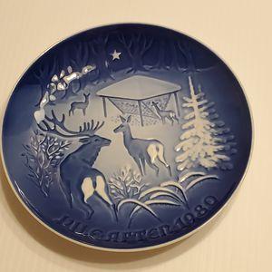 Used, Bing & Grondahl B&G Copenhagen Porcelain Jule After 1980 Copenhagen Christmas for sale  the Woods Plate #9080 for Sale
