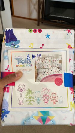 Trolls World Tour Queen Sheet Set for Sale in Vancouver,  WA