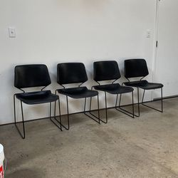 4 Black Stackable Plastic Designer Chairs for Sale in Los Angeles,  CA