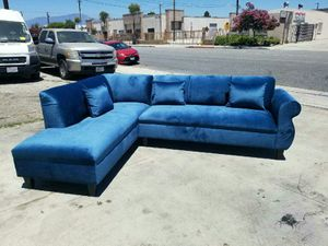 NEW 7X9FT JEAPARDY TEAL BLUE FABRIC SECTIONAL CHAISE for Sale in Las Vegas, NV