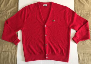Lacoste Vintage Red Green Classic Button Knit Acrylic Cardigan Sweater Mens Sz XL for Sale in Tempe, AZ