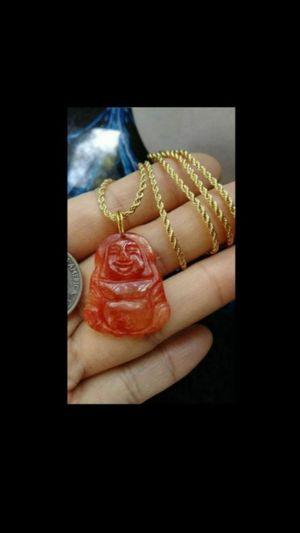 "Estate pc Prayer Buddha God red jade pendant 14k gold pld ropechain 20"" 2mm for Sale in Richmond, CA"