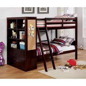 DARK WALNUT FINISH TWIN OVER TWIN SIZE BED BOOKCASE DRAWERS CORK BOARD / CAMA SENCILLA LITERA for Sale in Riverside, CA