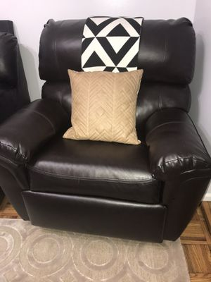 Dark Brown Leather Reclining Rocking Chair for Sale in Brooklyn, NY