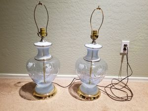 Pair of Vintage Leviton Clear Blue Glass lamps w/ floral pictorials for Sale in Queen Creek, AZ