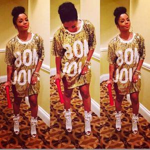 Gold Sequin T-shirt Dress for Sale in Sicklerville, NJ