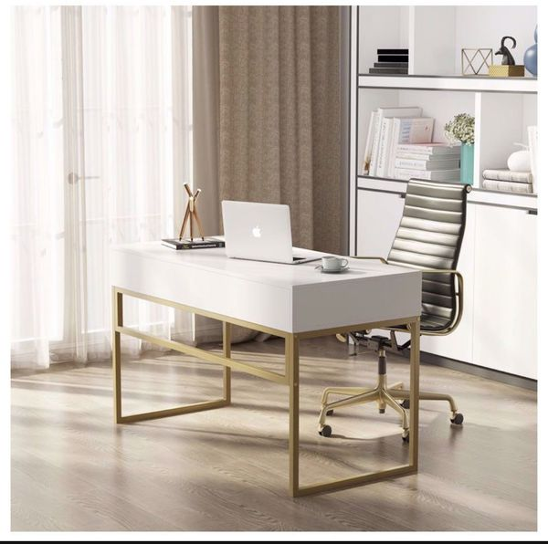 Tribesigns Computer Desk, Modern Simple 47 inch Home Office Desk Study Table Writing Desk with 2 Storage Drawers, Makeup Vanity Console Table, White a