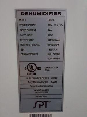 SPT 30 pint dehumidifier for Sale in San Diego, CA