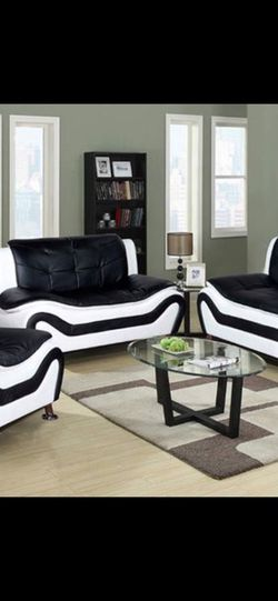Modern Style Black and White Leather Three Piece Sofa Set for Sale in Vancouver,  WA