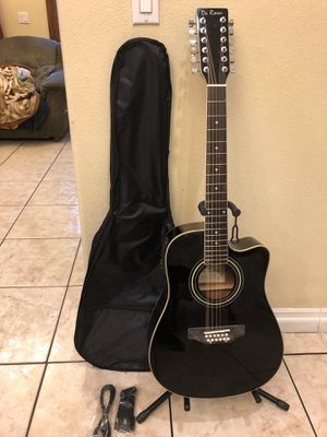 De Rosa 12 string electric acoustic guitar with soft case strap and cable for Sale in Bell, CA