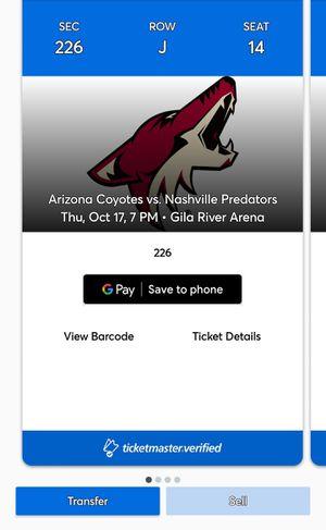 Arizona Coyotes vs Nashville Predators Thursday Oct 17th for Sale in Mesa, AZ