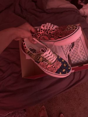 Vans Sk8-hi: Checkgray $60 (W8.5) Vans Authentic- PatchPrint $50 (W9) for Sale in Tallahassee, FL