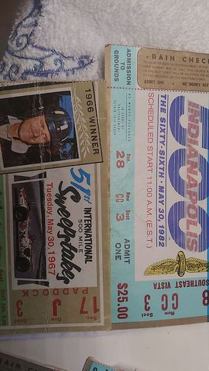 Actual Indy 500 ticket stubbs n nascar set for Sale in Ruskin, FL