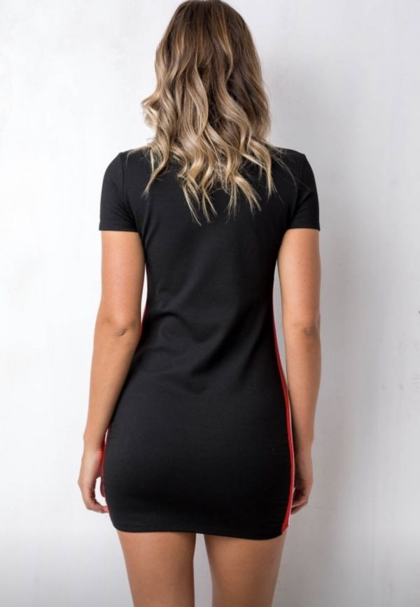 BLACK DRESS WITH RED AND WHITE STRIPES