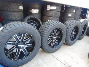 NEW Gloss Black/Machined 20X10 Rims LT 305 55 20 Tires *TPMS* *8X180* for Sale in Aurora, CO