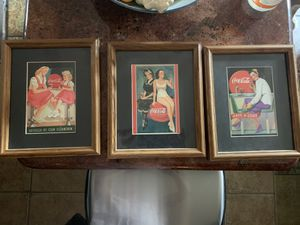 3 matted and framed Coca-Cola pictures for Sale in Carrollton, TX