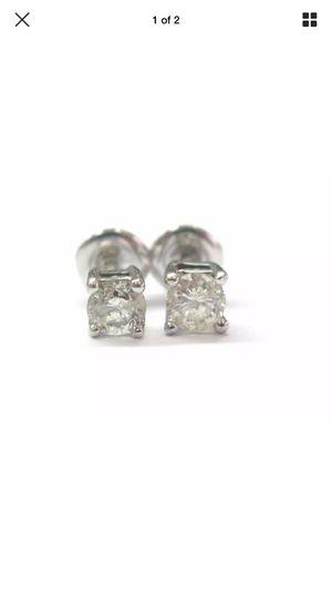Fine round cut diamond earring stud 14kt wg .50ct for Sale in Santa Monica, CA