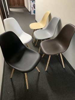 "NEW $25 each Mid Century Modern Eames Style dining leisure DSW 18 wide x 31 inches tall seat height 17"" chair 5 colors beige white black grey or brow for Sale in Covina,  CA"