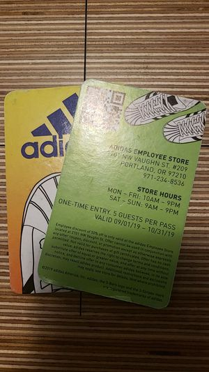 Adidas employee pass. 1 left. for Sale in Gresham, OR