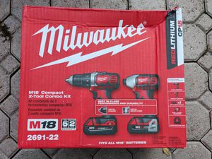 Milwaukee 2691-22 18-Volt Compact Drill and Impact Driver Combo Kit for Sale in Pompano Beach, FL