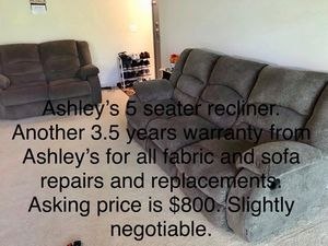 Ashley's 5 seater recliner sofa set with 3 years Ashley's warranty still available for Sale in Tysons, VA