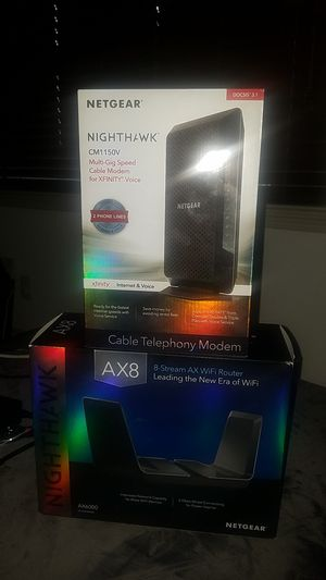NetGear Cable Modem CM1250V and AX8 WiFi Router for Sale in Houston, TX