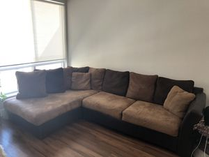 Brown Microfiber Sectional Couch for Sale in Santa Clara, CA