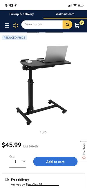 ZENSTYLE Angle Height Adjustable Rolling Laptop Desk Over Sofa Bed Notebook Table Stand for Sale in Bakersfield, CA