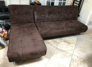 2 PC Sectional Sofa Futon Couch Chaise Bed Sleeper Pillow Set Brown Microfiber for Sale in New York, NY