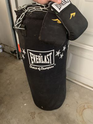 Everlast punching bag and gloves for Sale in Woodland, CA