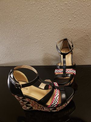 """Tribal print wedge Sandals - sz. 10 - 4"""" heel for Sale in Suitland-Silver Hill, MD"""