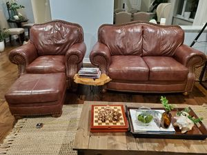 Genuine Leather Loveseat, Sofa Chair, and Ottoman for Sale in Carlsbad, CA