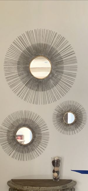 Stunning metal starburst mirrors (sold as set of 3 mirrors) for Sale in Del Mar, CA