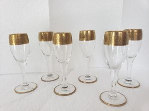 Antique Bohemian Moser Tiffin Minton shot glasses on a steam. for Sale in Franklin Lakes, NJ