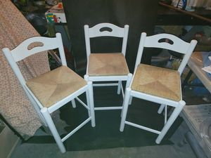 3 wooden barstools/wicker seat for Sale in New Caney, TX