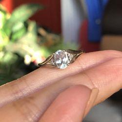 10k withe gold aquamarine and diamond ring for Sale in Manassas,  VA