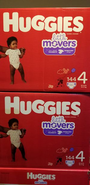 Huggies little movers size 4 144 daipers $37 each box firm price for Sale in Los Angeles, CA