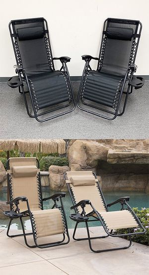 New in box $70 (set of 2) Tan or Black Adjustable Zero Gravity Lounge Chair Patio Pool w/ Cup Holder for Sale in Whittier, CA