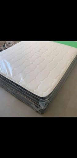 QUEEN SIZE MATTRESS PILLOW TOP COLCHONES NUEVOS CAMAS BOX SPRING WRAPPED IN PLASTIC ALL NEW for Sale in Miami,  FL