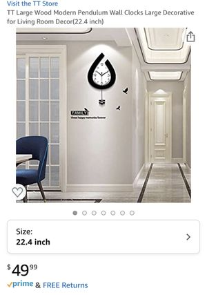 TT Large Wood Modern Pendulum Wall Clocks Large Decorative for Living Room Decor(22.4 inch) for Sale in Lilburn, GA