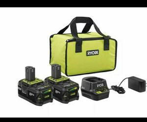 Ryobi Power Tool Batteries 2x 4AH Ryobi Lithium Battery 18v Kit LED Power Gauge Batteries and Charger for Sale in San Diego, CA