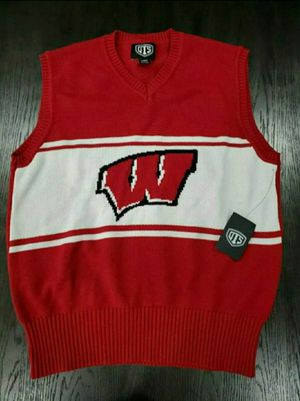 New Men's OTS Wisconsin Badgers Sweater Vest Medium Logo Size Large for Sale in Dallas, TX