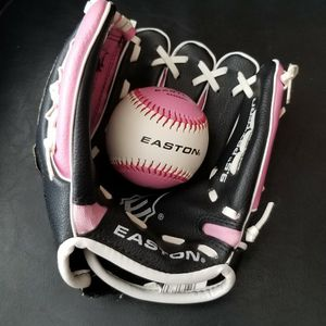 Youth Easton baseball/softball glove and ball, pink matching color, girls for Sale in Lakewood, CA