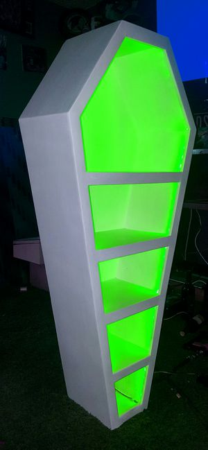 5 foot Coffin bookcase with remote control LEDs for Sale in San Diego, CA
