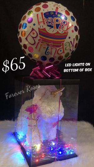 Beautiful White Rose Unicorn With LED Lights On Bottom Of Box 🦄 🌷🤍. 🐻 Rose Bear. Perfect For Any Occasion. Perfect Gift 💝. Same Day Pick Up Is Avail for Sale in Lynwood, CA