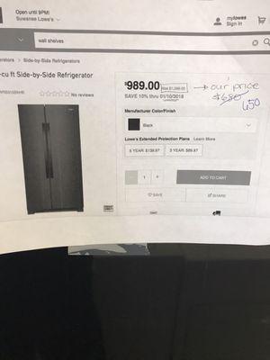 BLACK WHIRLPOOL SIDE BY SIDE REGRIGERATOR for Sale in Lilburn, GA