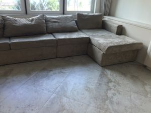 Suede couch/fold-out bed for Sale in LAUD BY SEA, FL