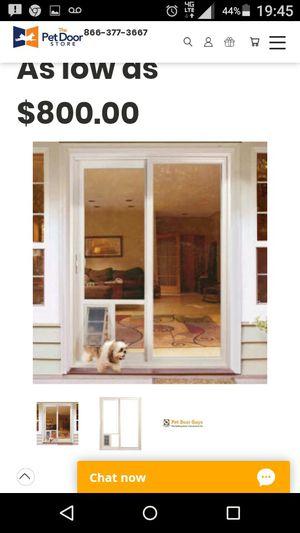 """70"""" x94"""" Sliding glass door with medium size 8.5""""x11.5"""" permanent pet door (not insert) for Sale in Burien, WA"""